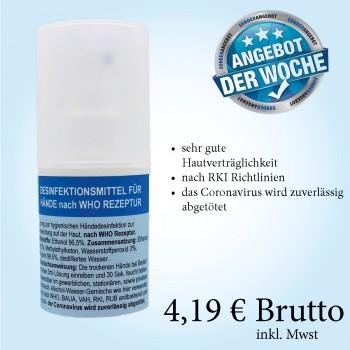 MWF Desinfektionsmittel nach WHO Rezeptur 100 ml Flasche mit Sprühkopf