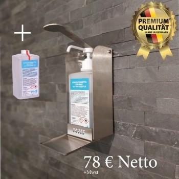 MWF Desinfektionsspender für Wandmontage + 1 Liter MWF Desinfektionsmittel kostenlos