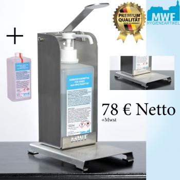 MWF Tischspender aus gebürstetem Edelstahl + 1 Liter MWF Desinfektionsmittel kostenlos
